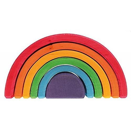 Grimm's 6-Piece Rainbow Stacker – Nesting Wooden Waldorf Blocks Elements of Nature AIR