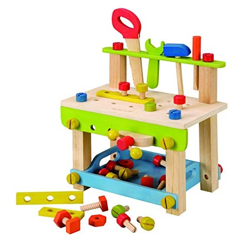 EverEarth Toddler Workbench with Tools Wooden Building Set Hammer Toy