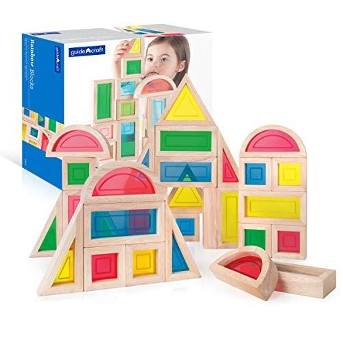 Guidecraft Rainbow Blocks Set – 30 Pcs Kids Learning & Educational Toys Stacking