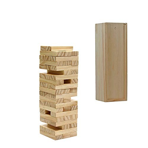 WE Games Wood Block Toppling Timbers Game – 12 inch with Wooden Box and Die Natural Blocks