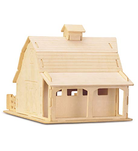 Puzzled 3D Puzzle Farm Barn Set Wood Craft Construction Model Kit Fun & Educational DIY Wooden Toy Assemble Unfinished Crafting Hobby to Build and Paint for Decoration 21 Pieces Pack
