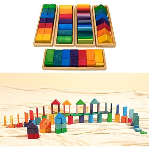 Grimm's Large Shapes & Colors Building Set Part 1 – Colorful Wooden Blocks in 5 Geometric Forms with Storage Trays 4×4 Size