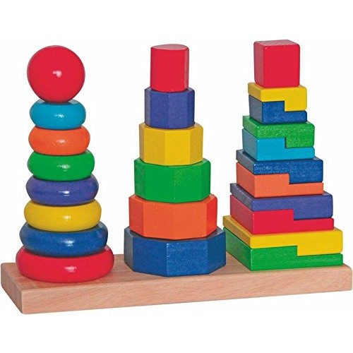 woodyland 28 x 9x 21 Didactic Toys Stacking Towers Set 25-Piece