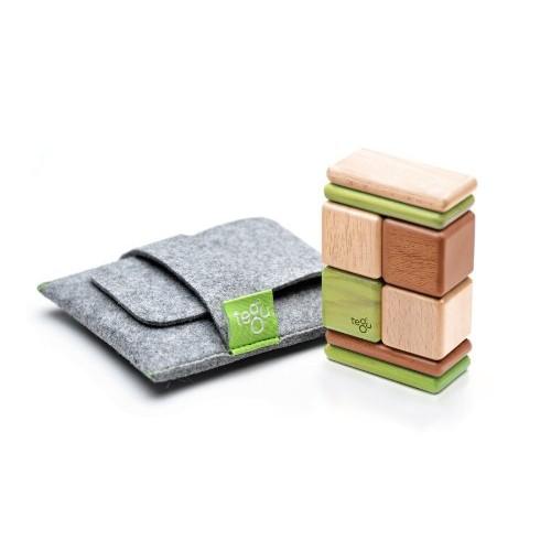 8 Piece Tegu Pocket Pouch Magnetic Wooden Block Set Jungle