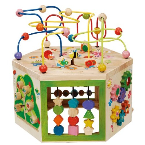 EverEarth Garden Activity Cube Wood Shape & Color Sorter Bead Maze Counting Baby Toy