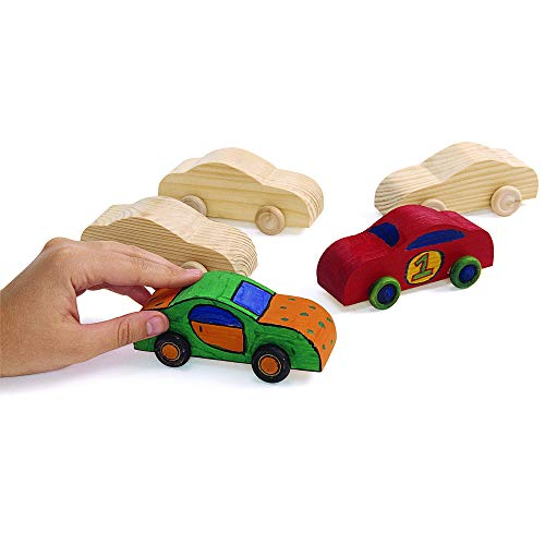 Colorations Wood Rolling DIY Car Set of 12 Ready to Decorate Arts & Crafts Toy Movement Racecar Craft Activity Model Beginner