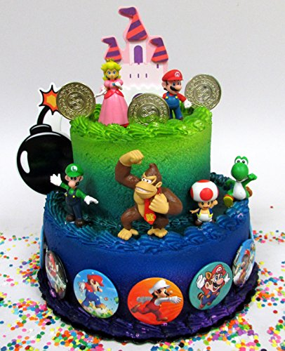 Mario Brothers 23 Piece Birthday Cake Topper Set Featuring Castle Bomb Coins 6 Figures Including Luigi Princess Peach Toad Yoshi Donkey Kong and 12 1 Decorative Buttons