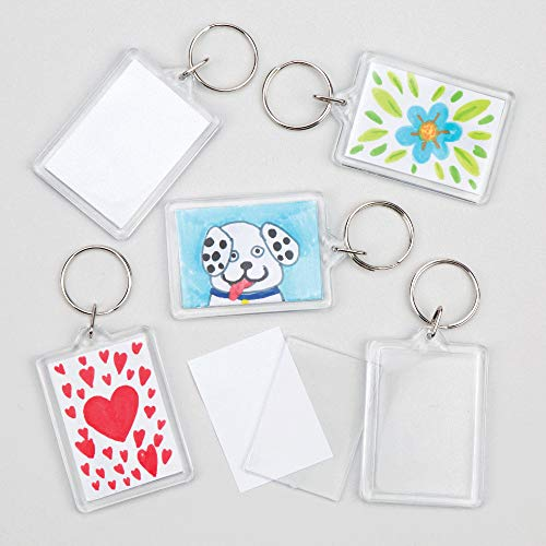 Baker Ross Keyring Kits to Decorate Personalize & Use or Offer as a Small Gift Children's Craft Activities Pack of 8