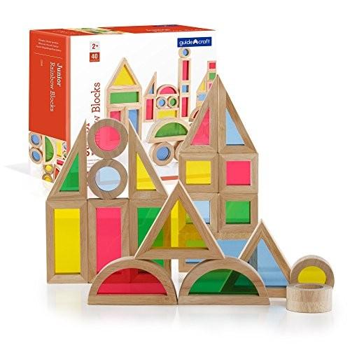 Guidecraft Jr Rainbow Blocks 40 Piece Set – Kids Learning & Educational Toys Stacking Blocks