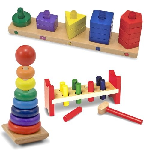 Melissa & Doug Deluxe Wooden Pound-A-Peg with Stack and Sort Board Rainbow Stacker