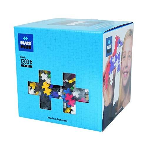 PLUS – Open Play Set 1200 Piece Basic Color Mix Construction Building Stem Toy Interlocking Mini Puzzle Blocks for Kids