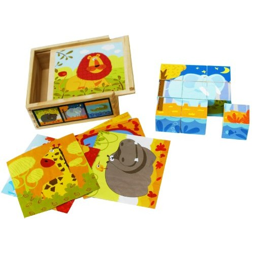 TOWO Wooden Blocks Cube Puzzles for Kids – Jigsaw 9 Cubes 6 Wild Animals Pictures in a Box Toys Gift 2 Years Old
