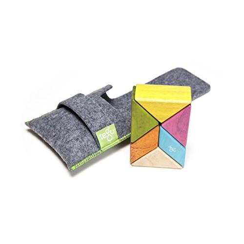 6 Piece Tegu Pocket Pouch Prism Magnetic Wooden Block Set Tints