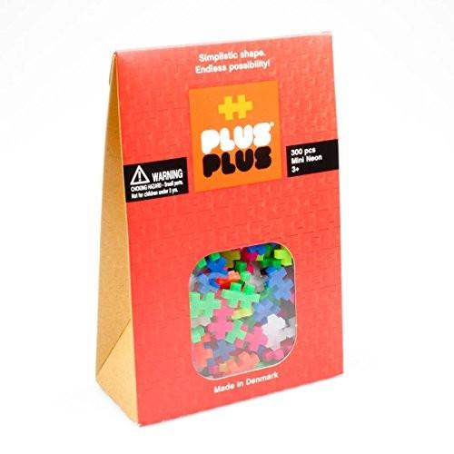 PLUS Neon Mix – 300 Piece Construction Building Stem Steam Toy Mini Puzzle Blocks for Kids
