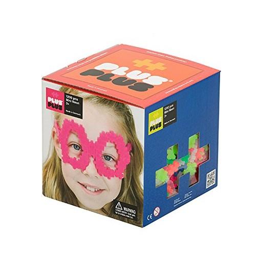 PLUS – Open Play Set 1200 Piece Neon Color Mix Construction Building Stem Steam Toy Interlocking Mini Puzzle Blocks for Kids