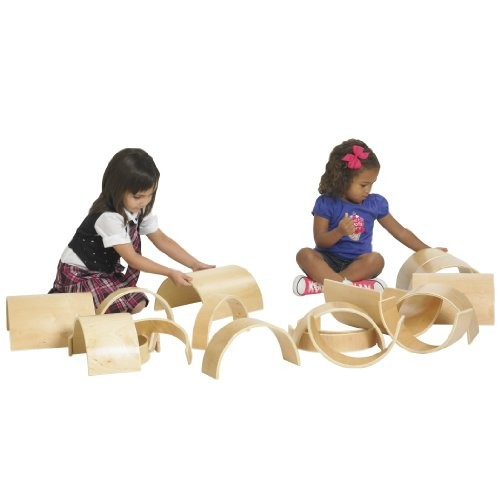 ECR4Kids Natural Hardwood Curved Play Tunnel and Arch Blocks 10-Piece