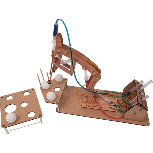 Pitsco Laser-Cut Basswood T-Bot II Hydraulic Arm with Challenge Set
