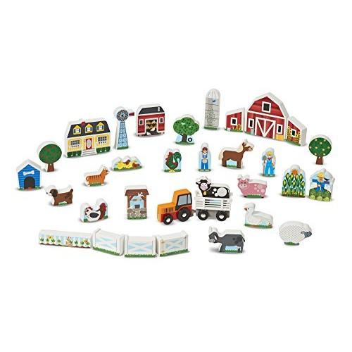Melissa & Doug Wooden Farm Tractor Play Set