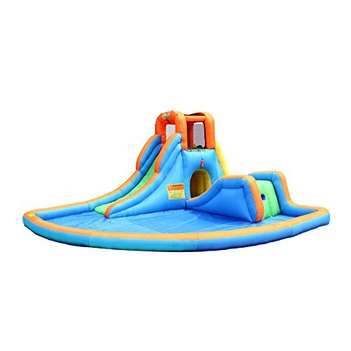 Bounceland Inflatable Cascade Water Slide with Large Pool Two Water Slides Water Sprayer for