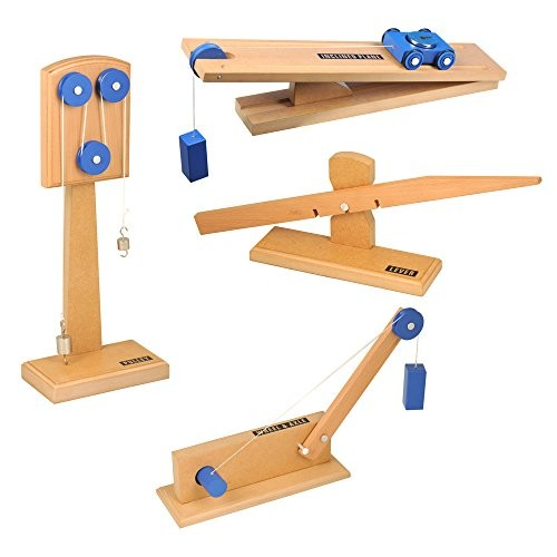 hand2mind Wood Simple Machine Collection with Inclined Plane and Cart Double Pulley Lever Set of 4