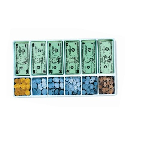 School Smart Money Kit Bills and Coins with 12 Compartment Plastic Tray Grades K-4