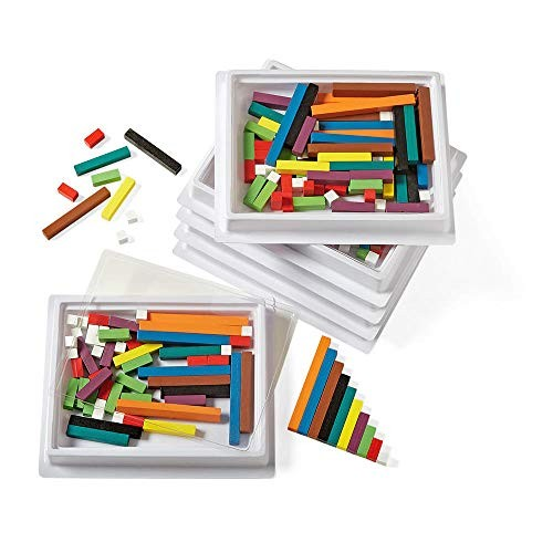 hand2mind Wooden Cuisenaire Rods Six-Tray Pack Kit Spark Kids' Interest in Math with Hands-on Learning Grades K-8 Color & Rod Correspond to a Specific Length 6 Sets of 74 4212AA