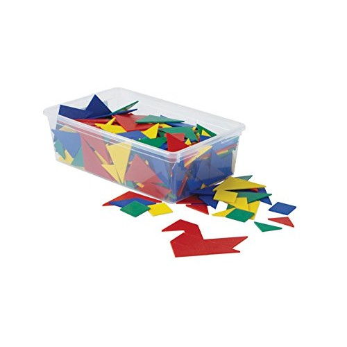 hand2mind Plastic Tangrams Manipulative Set for Math Puzzles Pack of 32