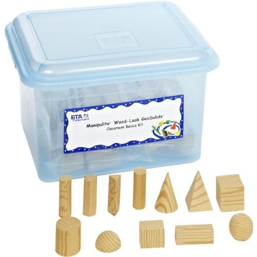 hand2mind Foam Geometric Solid Blocks 3D Wood-Color Shapes Classroom Kit Set of 96