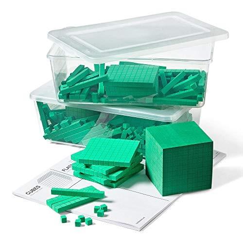 hand2mind Green Foam Base Ten Blocks for Place Value Math Set of 322
