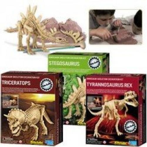 DINOSAURS ROCK Kidz Lab Dinosaur Excavation Dig Kits – Gift Pack Set of 3 Triceratops T-Rex Stegosaurus