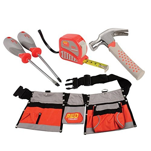 Constructive Playthings CP Toys Adjustable Tool Belt with Multiple Pockets and 4 pcReal Tools Set
