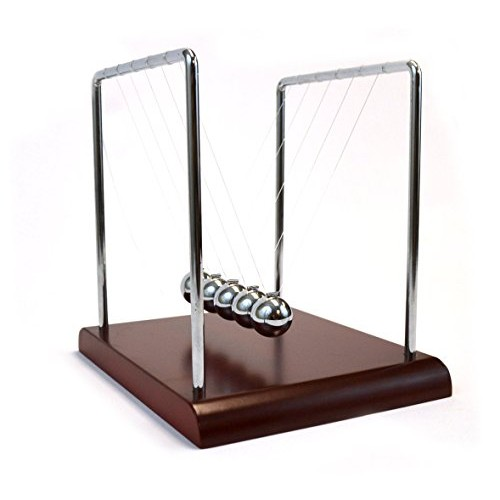 EISCO Labs Advanced Newton's Cradle with Red Wood Base 43 g Ni Plated Steel Balls