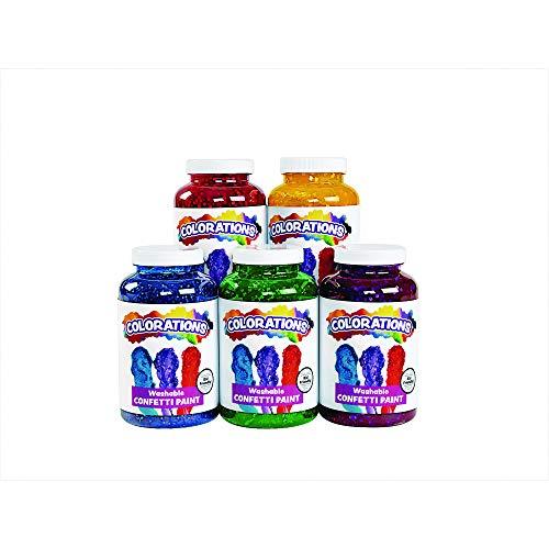 Colorations Washable Confetti Paints 16 Fluid Ounces 5 Colors Non-Toxic Creamy Vibrant Kids Paint Craft Fun Young Finger Painting Hand Item # FETISET