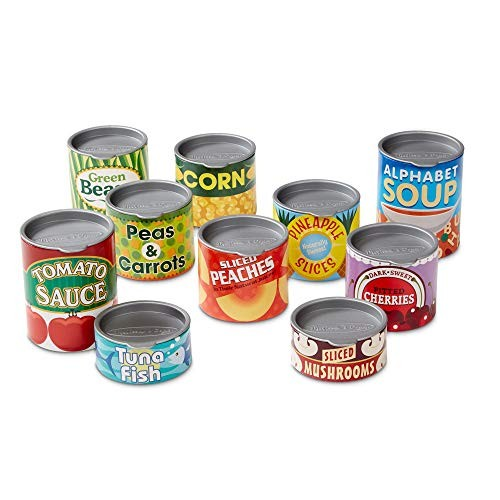 Melissa & Doug Lets Play House Grocery Cans Pretend Pop-Off Lids Sturdy Cardboard Construction 10 Cans