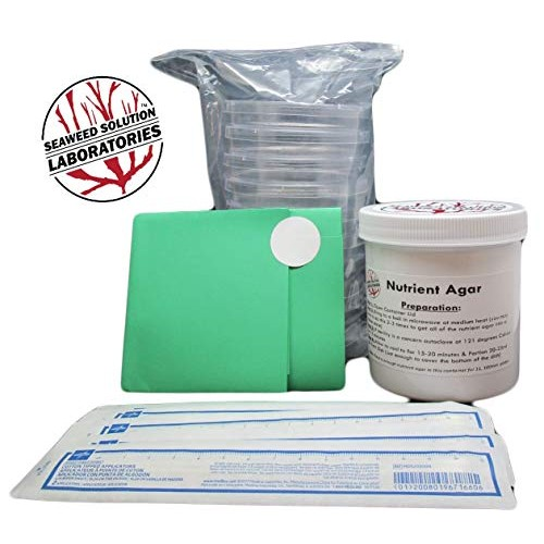 Nutrient Agar Kit Includes Sterilized Container of 300ml 10 Sterile Petri Dishes with Lids & Cotton Swabs