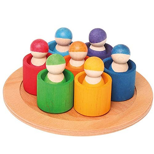 Grimm's Seven Friends in 7 Bowls Set of Wooden Sorting & Matching Rainbow Peg Dolls with Tray