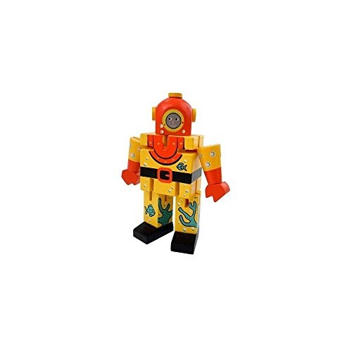Deep Sea Diver 45 Tall Painted Wooden Robot Toy