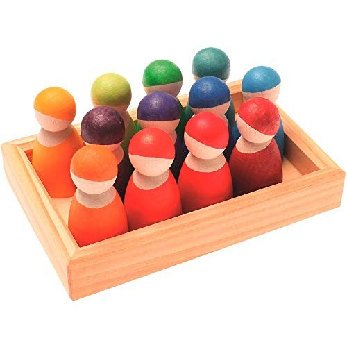 Grimm's Set of 12 Rainbow Friends Peg Dolls – Wooden Pretend Play People Figures with Storage Tray