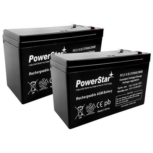 PowerStar-2pk 12V 9AH Battery Razor Scooter ES300 E200 E300 Bella Betty Daisy Vapor