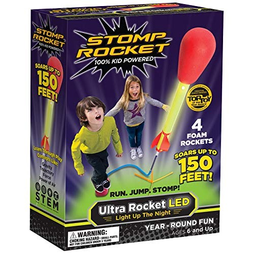 Stomp Rocket Ultra LED 4 Rockets – Outdoor Toy Gift for Boys and Girls- Comes with Launcher Ages 6 Years Up