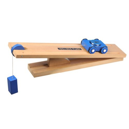 Eisco WDMS10 Simple Machines Inclined Plane Cart ModelWood tone and blue