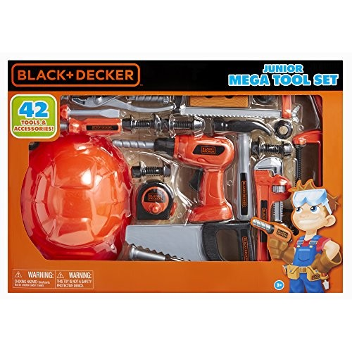 BLACK+DECKER Junior Kids Tool Set – Mega with 42 Tools & Accessories Role Play for Toddlers Ages 3 Years Old and Above Includes Helmet