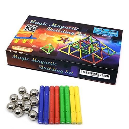 CMS MAGNETICS 156 Piece Magnetic Building Set with 96 Magnet Sticks and 60 Steel Balls – Brain Toys Family Fun for All Ages