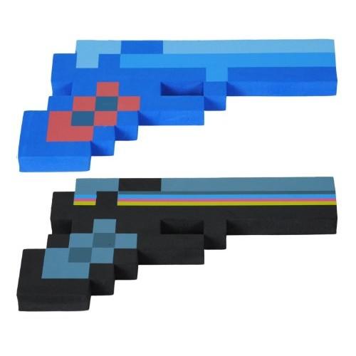 8 Bit Pixelated Blue Diamond Foam Gun & 8 Bit Pixelated Black Stone Foam