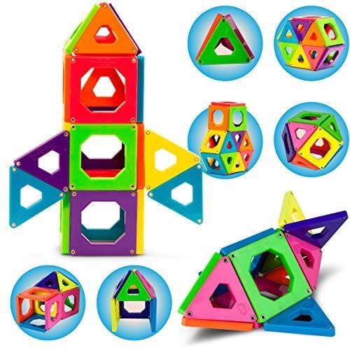 Discovery Kids 24-Piece Best Magnetic Tiles Building Blocks Kit