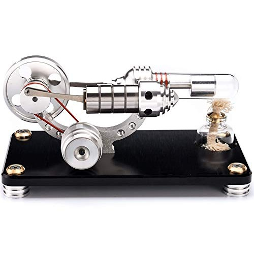 Sunnytech Hot Air Stirling Engine Colorful LED Flywheel Education Toy Electricity Power Generator Model M14-03-L Black