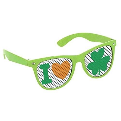 amscan St Patrick's Day Green Plastic Shamrock Printed Eyeglasses Party Accessory