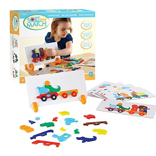 Guidecraft Animal Train Sort and Match – 40 pieces Color Shapes Matching Game for Children Kids Early Learning Development Toy