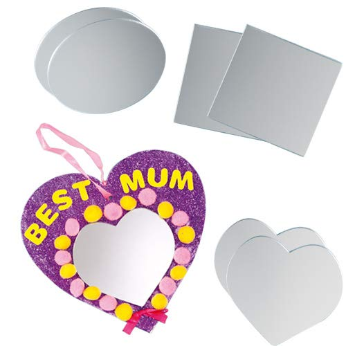 Baker Ross Shaped Acrylic Mirrors for Craft Projects Ideal Kids to Decorate Arts and Crafts Gifts Keepsakes More Pack of 12