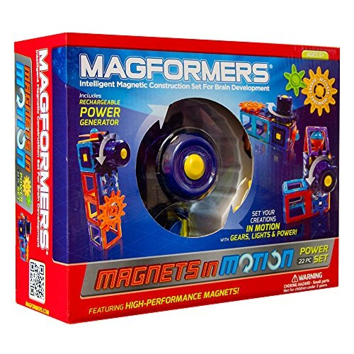 Magformers Magnets in Motion Power Set 22-Pieces Magnetic Building Blocks Educational Tiles Kit Construction STEM Gear